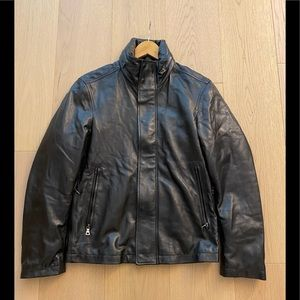 Prada Men's leather jacket with hoodie